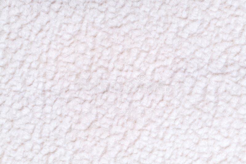 Biały puszysty tło miękka część, wełnisty płótno Tekstura tekstylny zbliżenie zdjęcia stock