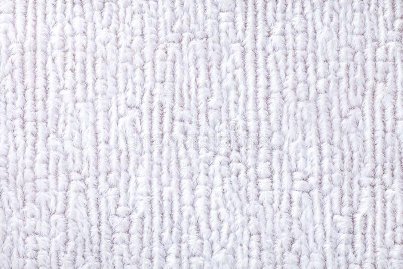 Biały puszysty tło miękka część, wełnisty płótno Tekstura tekstylny zbliżenie zdjęcie stock
