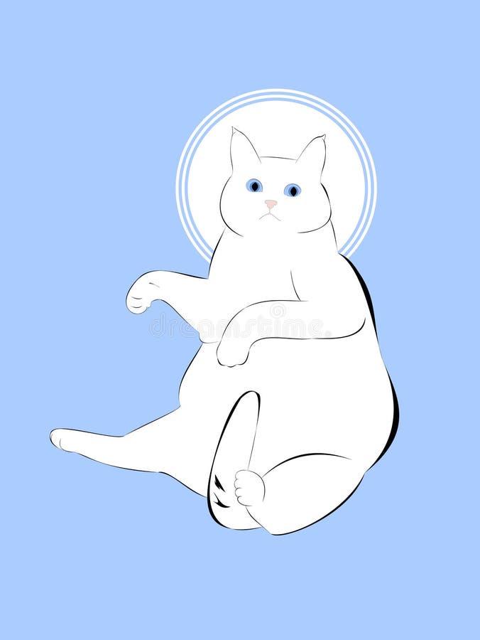 Biały puszysty tłusty kot z niebieskimi oczami ilustracji