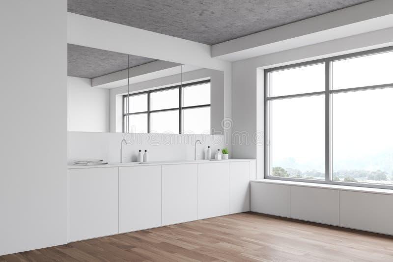 Biały róg łazienki z podwójnym zlewem royalty ilustracja