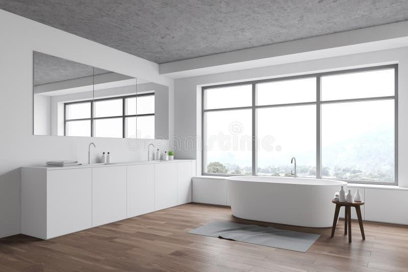 Biały róg łazienki z zlewem i wanną ilustracja wektor