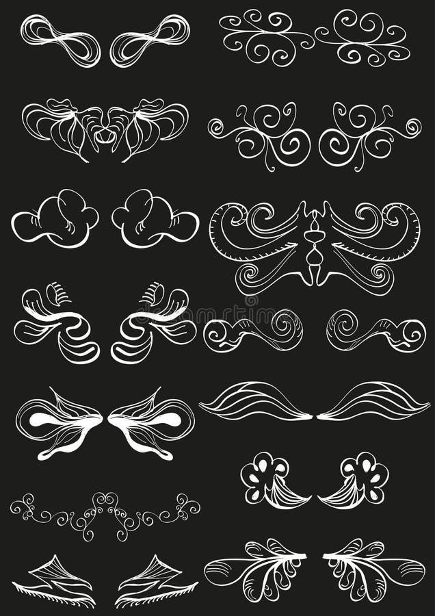 Biały ręka rysować sztandaru dekoracje na czerń ilustracji