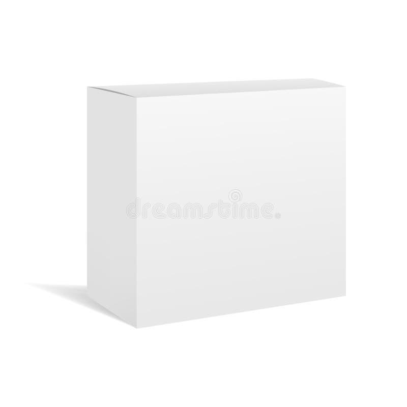 Biały realistyczny pudełkowaty pakunku mockup royalty ilustracja