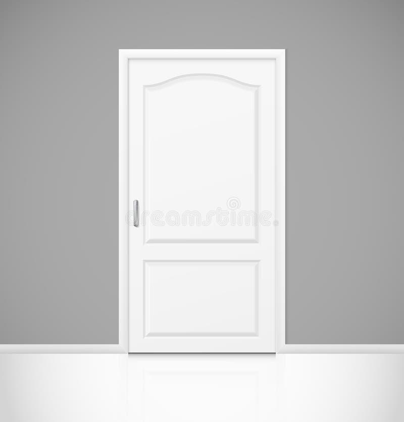 Biały realistyczny zamknięty drzwi w pustym izbowym wnętrzu ilustracji