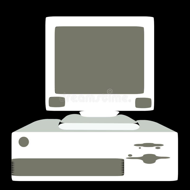 Biały retro, modniś, antyk, stary, antykwarski, osobisty komputer z zaokrąglonymi kątami na czarnym tle, ilustracji