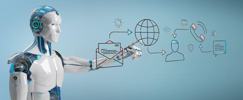 Biały robot kontroluje ogólnospołecznego sieci ikon interfejs ilustracja wektor