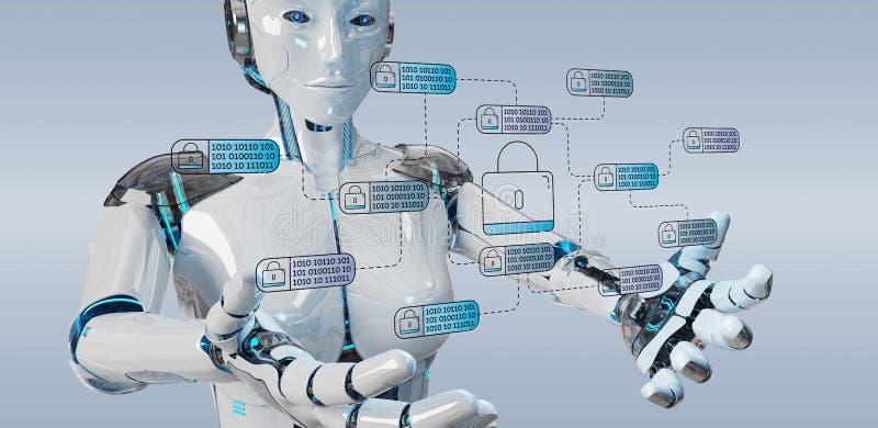 Biały robot na zamazanym tle sieka i przystępuje intymny ilustracji