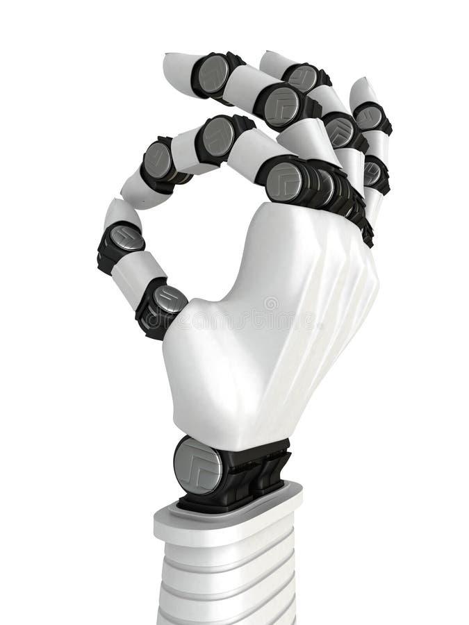 Biały robot ręki ręki OK gest 3 wymiarowe jaja royalty ilustracja