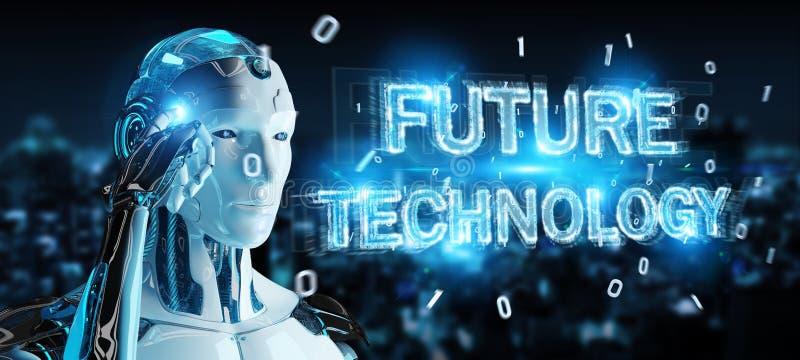Biały robot używać przyszłościowego technologia teksta holograma 3D rendering ilustracja wektor