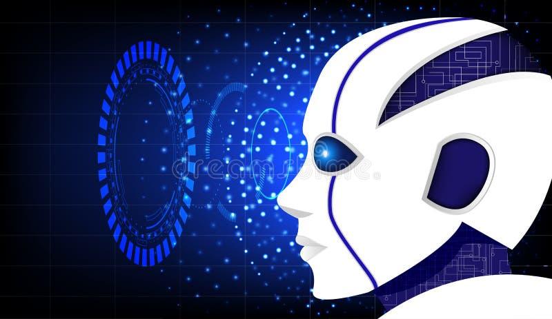 Biały robot z futurystycznym UI na ciemnym tle ilustracja wektor