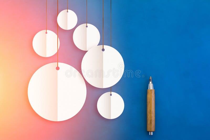 Biały round sztandar z papieru rżniętym technic ołówkiem i jpg zdjęcie stock