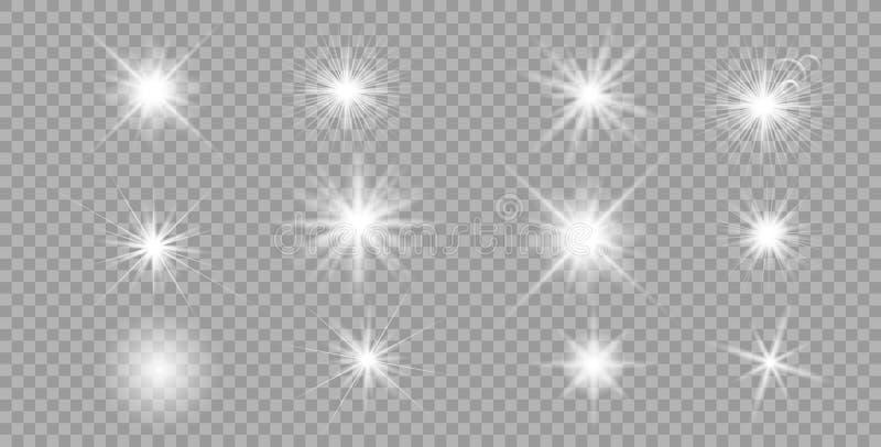Biały rozjarzony światło pękający set ilustracja wektor