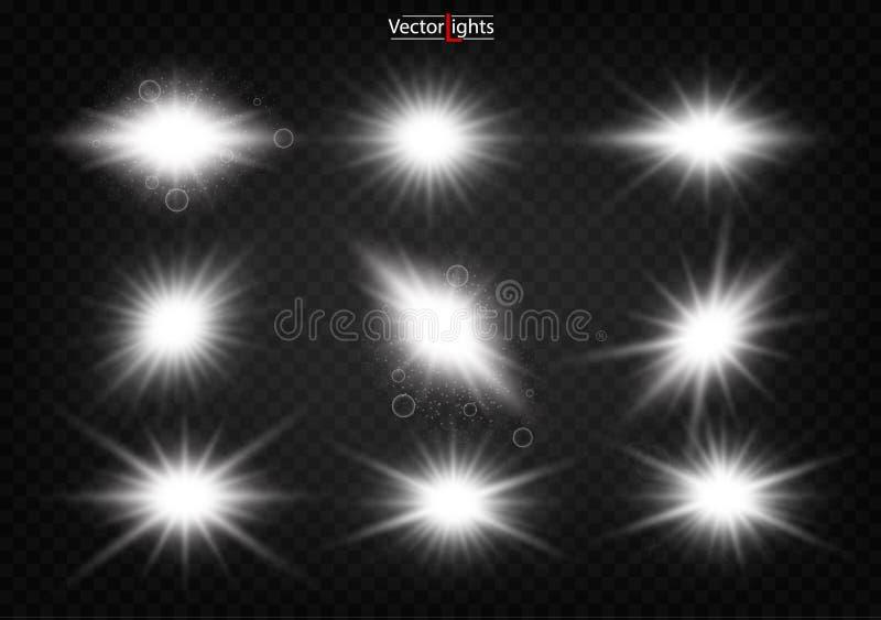 Biały rozjarzony światło wybucha na przejrzystym tle ilustracji
