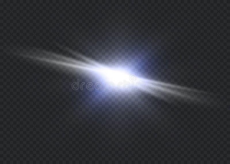 Biały rozjarzony światło wybucha na przejrzystym tle Wektorowa ilustracja lekki dekoracja skutek z promieniem najjaśniejsza gwiaz royalty ilustracja