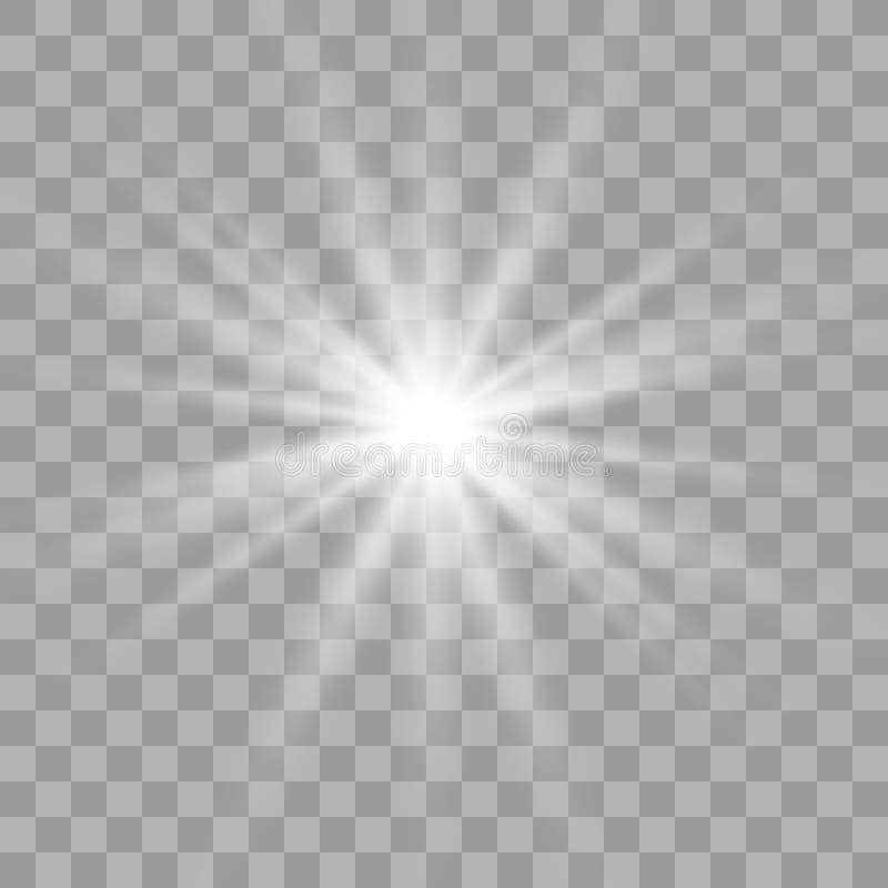 Biały rozjarzony lekki wybuchu wybuch ilustracja wektor