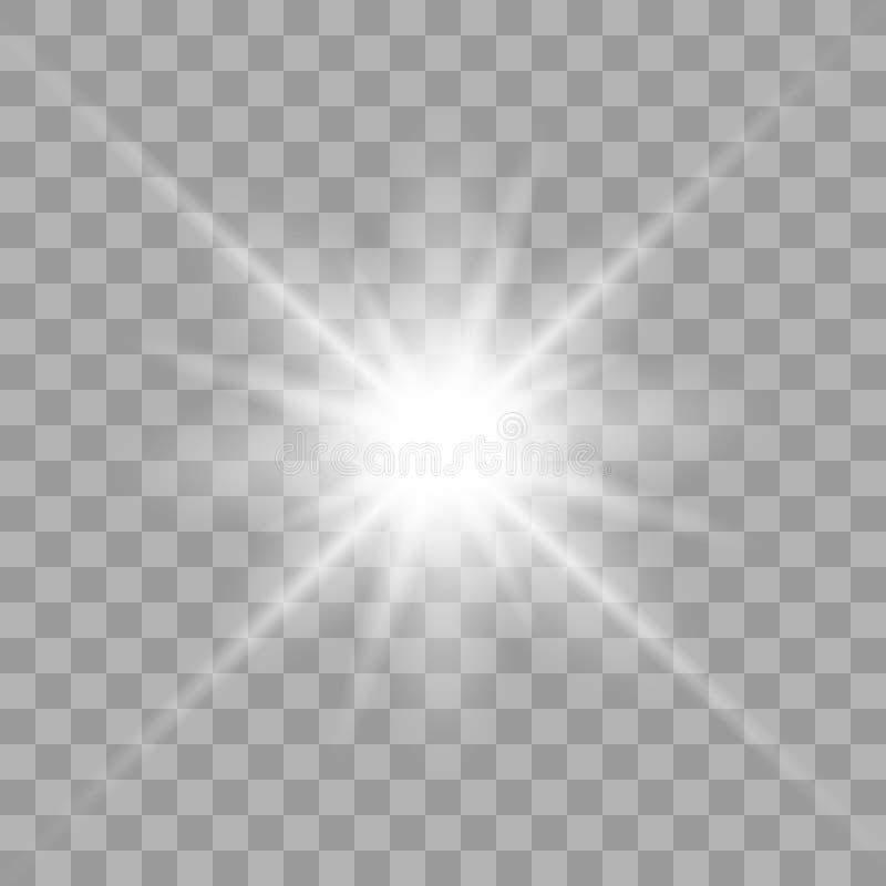 Biały rozjarzony lekki wybuchu wybuch ilustracji