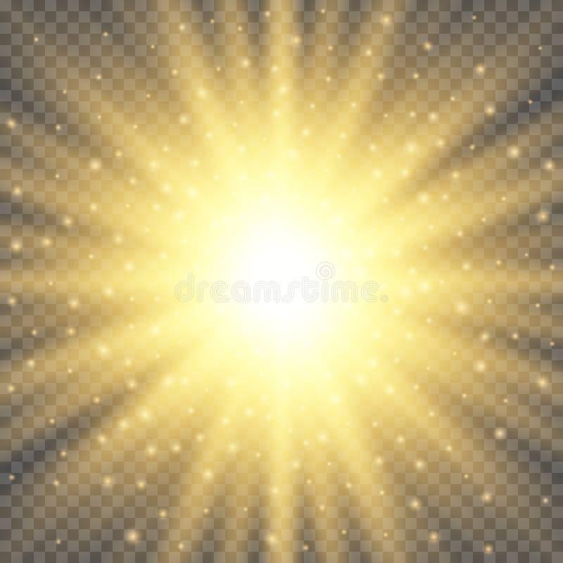 Biały rozjarzony lekki wybuchu wybuch na przejrzystym tle Jaskrawa racy skutka dekoracja z promieniem błyska royalty ilustracja