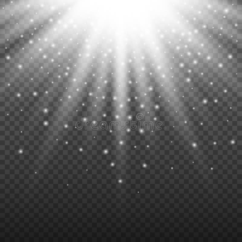 Biały rozjarzony lekki wybuchu wybuch na przejrzystym tle Jaskrawa racy skutka dekoracja z promieniem błyska i ilustracji
