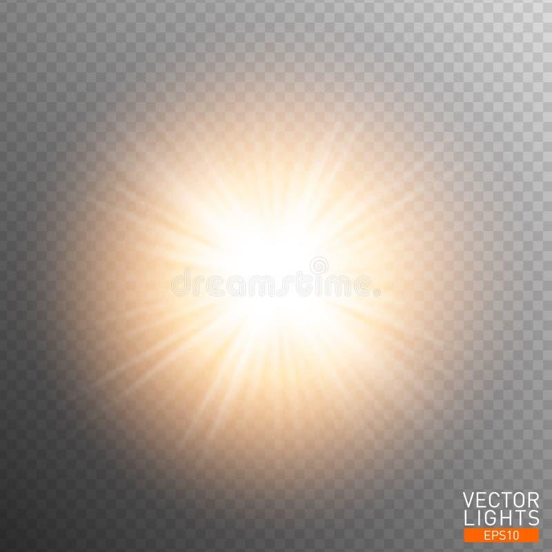 Biały rozjarzony lekki wybuchu wybuch na przejrzystym tle Wektorowa ilustracyjna lekkiego skutka dekoracja z promieniami najjaśni ilustracja wektor