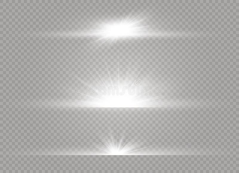 Biały rozjarzony lekki wybuchu wybuch na przejrzystym tle Wektorowa ilustracyjna lekkiego skutka dekoracja z promieniem ilustracja wektor