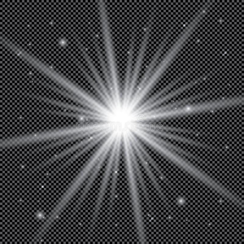 Biały rozjarzony lekki wybuchu wybuch z przejrzystym Wektorowa ilustracja dla chłodno skutek dekoraci z promieniem błyska Jaskraw ilustracji