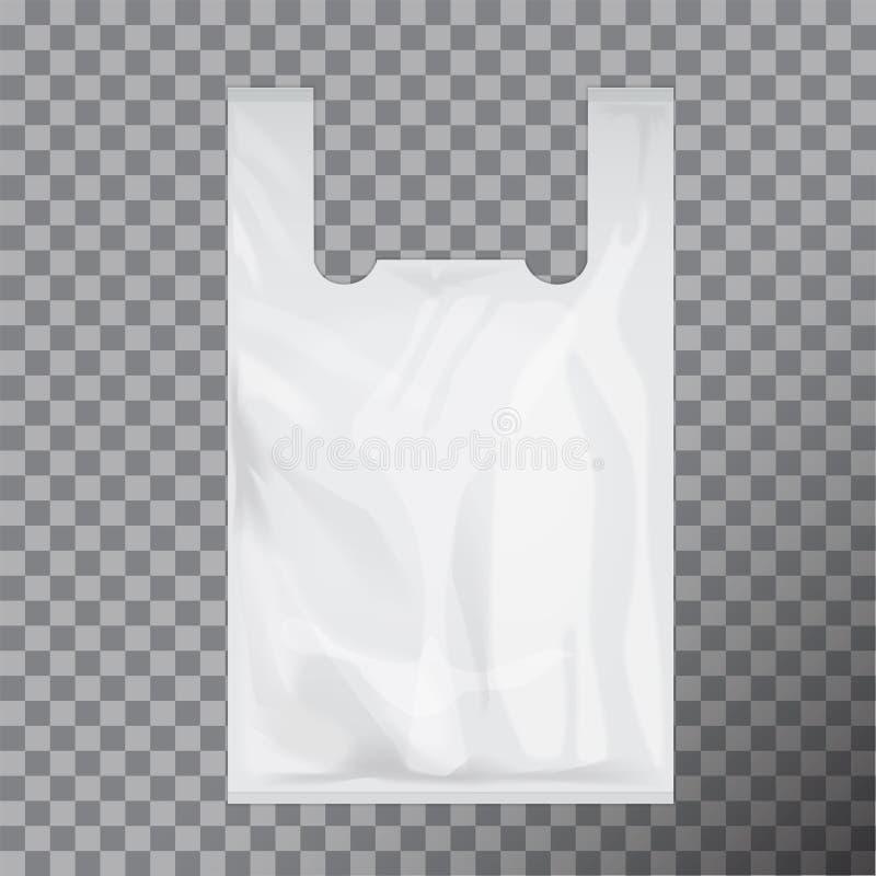 Biały Rozporządzalny koszulka plastikowego worka pakunek Wektorowej ilustraci Odosobniony Przejrzysty royalty ilustracja