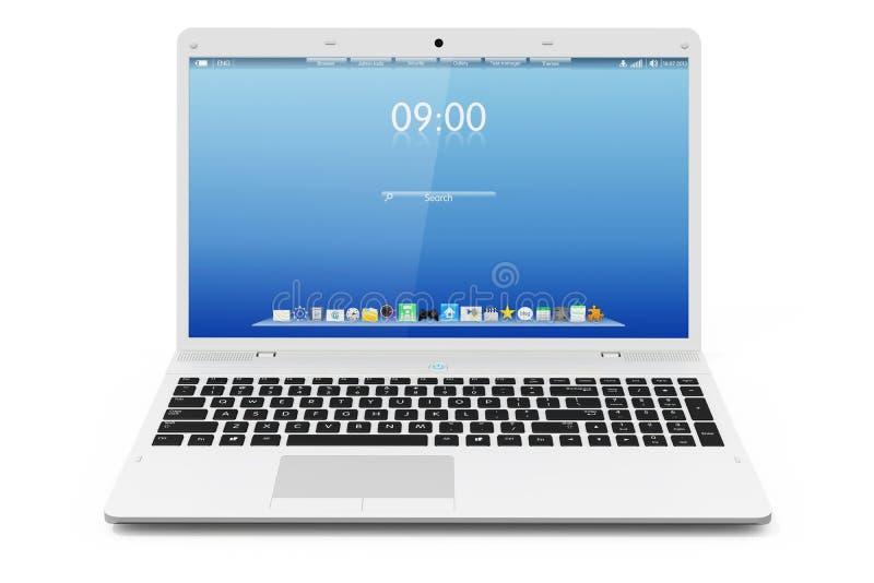 Biały ruchliwość laptop obraz royalty free