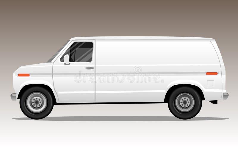 Biały samochód dostawczy z pustą przestrzenią dla teksta lub loga royalty ilustracja