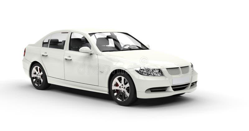 Biały samochód - sala wystawowa strzał ilustracja wektor