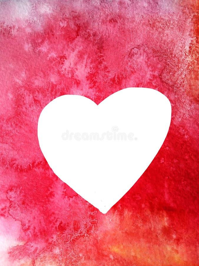Biały serce jak ramę na tle czerwonej akwareli abstrakcjonistyczny tło dla kart lub powitań ilustracja wektor