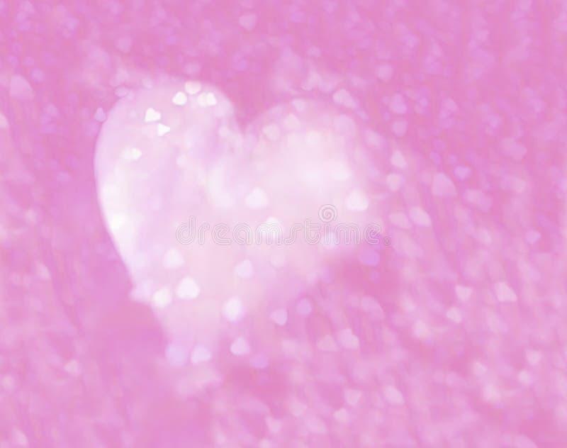 Biały serce z różowych serc puszystą teksturą ilustracji