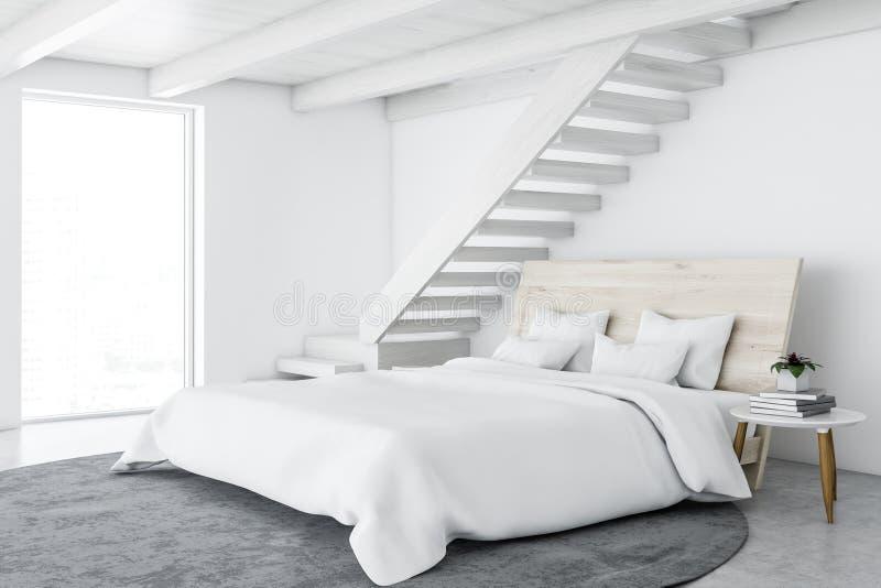 Biały skandynawa stylu sypialni wnętrze ilustracja wektor
