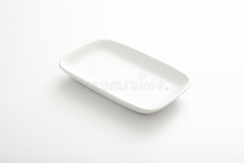Biały spodeczek odizolowywający zdjęcie stock