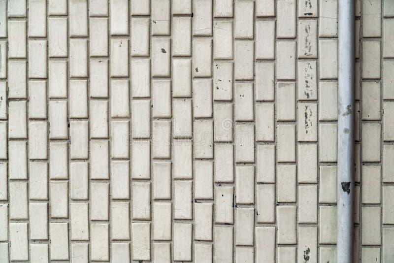 Biały stary ceramicznej płytki ściany wzór zdjęcia royalty free