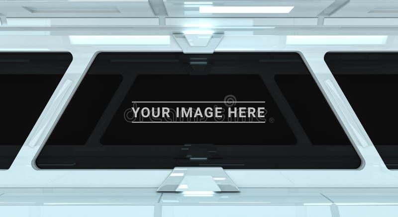 Biały statku kosmicznego wnętrze z wielkim nadokiennym widoku 3D renderingiem ilustracja wektor