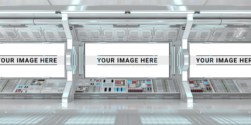 Biały statku kosmicznego wnętrze z wielkim nadokiennym widoku 3D renderingiem royalty ilustracja