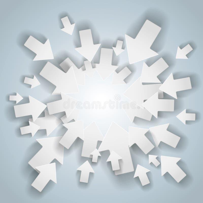 Biały strzała Centre ilustracja wektor