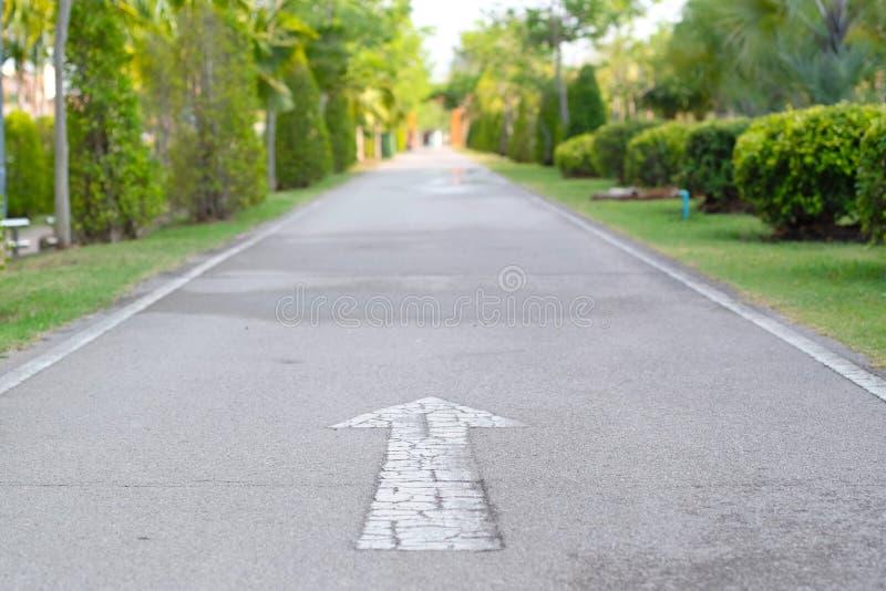 Biały strzałkowaty poruszający na drodze naprzód zdjęcia royalty free