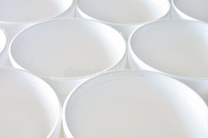 Biały Styrofoam filiżanki abstrakt zdjęcia royalty free