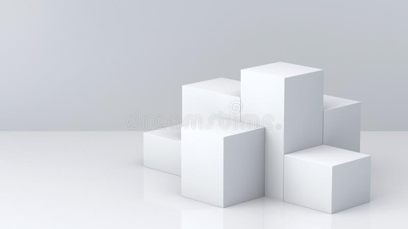 Biały sześcian boksuje z białym pustej ściany tłem dla pokazu świadczenia 3 d royalty ilustracja