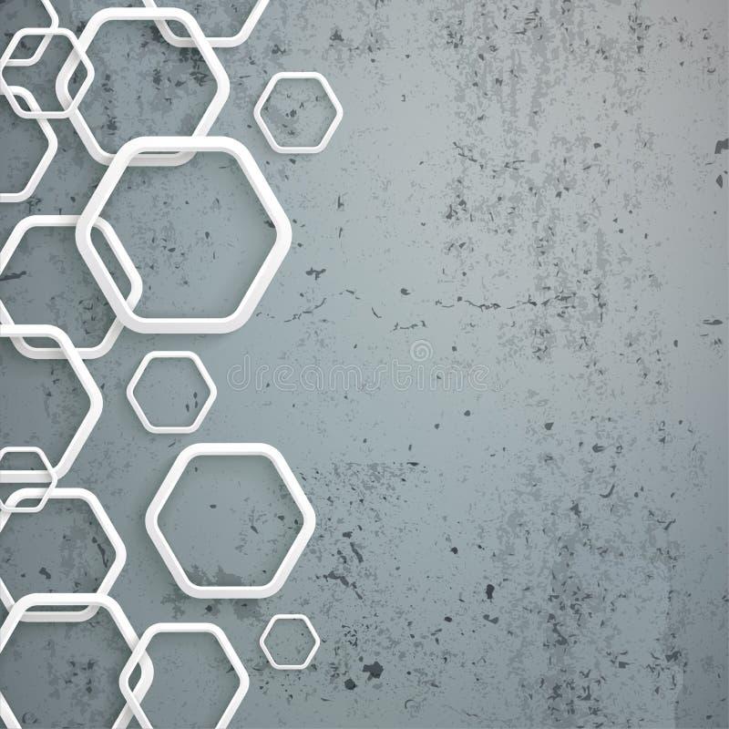 Biały sześciokąta beton ilustracji
