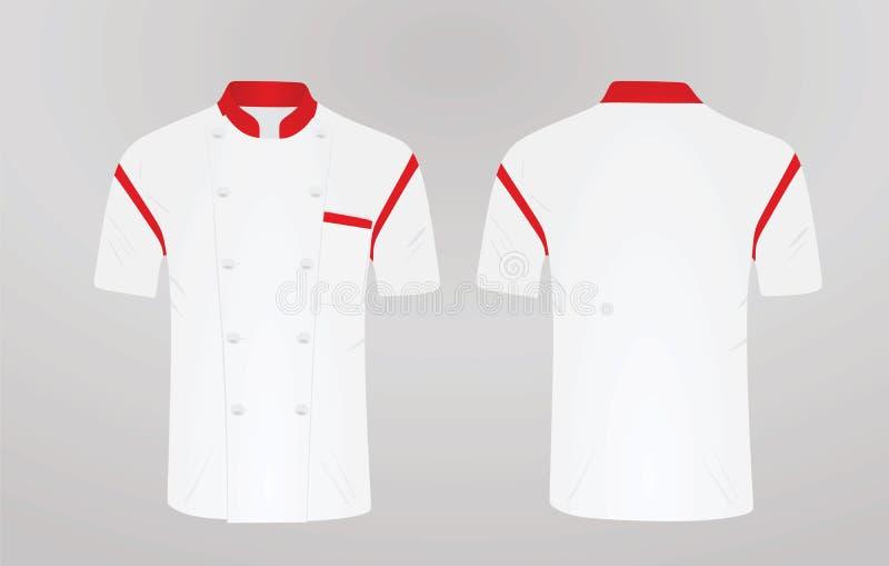 Biały szefa kuchni mundur Frontowy i tylny widok royalty ilustracja
