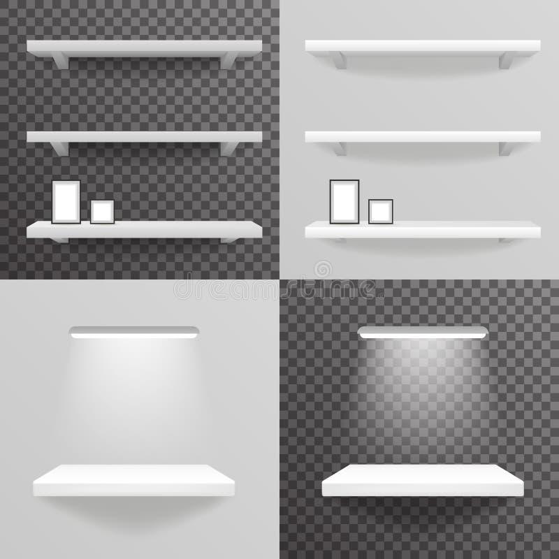 Biały szelfowy obwieszenie na ścianie z lekkimi fotografii ramy szarość i przejrzystym tła 3d projekta realistycznym wektorem ilustracja wektor