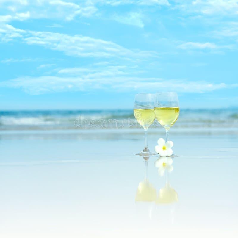 biały szkła wino dwa fotografia royalty free