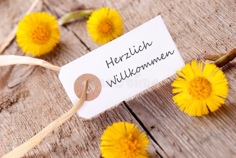 Biały sztandar z Herzlich Willkommen zdjęcia royalty free