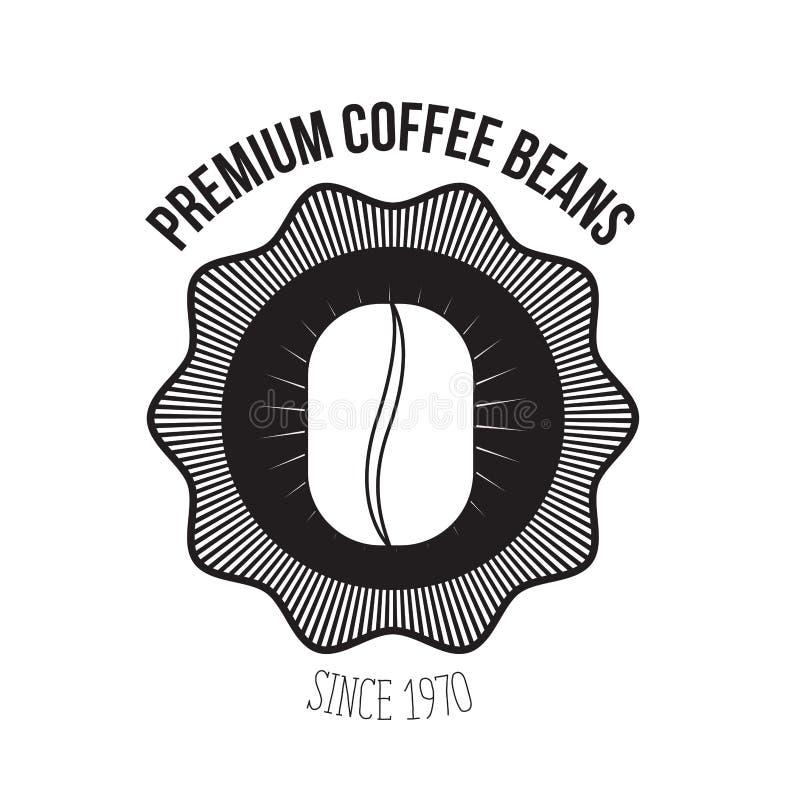 Biały tło loga projekt emblemat dekoracyjnej premii kawowe fasole od 1970 z adrą kawa ilustracji