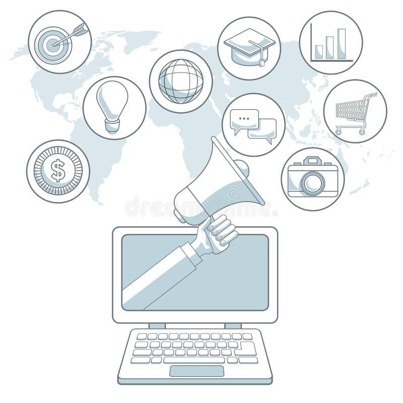 Biały tło mapy świat z kolor sekcjami laptop z bąbel ikon cyfrowym marketingiem royalty ilustracja