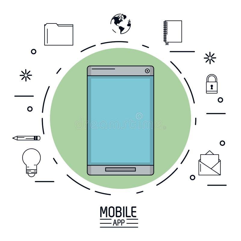 Biały tło plakat wisząca ozdoba app z smartphone wokoło w zielonym okręgu i pospolitych ikonach ilustracja wektor