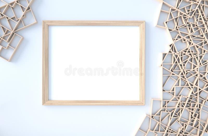 Biały tło wystrój z drewnianymi półkami izoluje, rozgałęzia się, obrazek rama, płatka cios 3 d czyni? royalty ilustracja