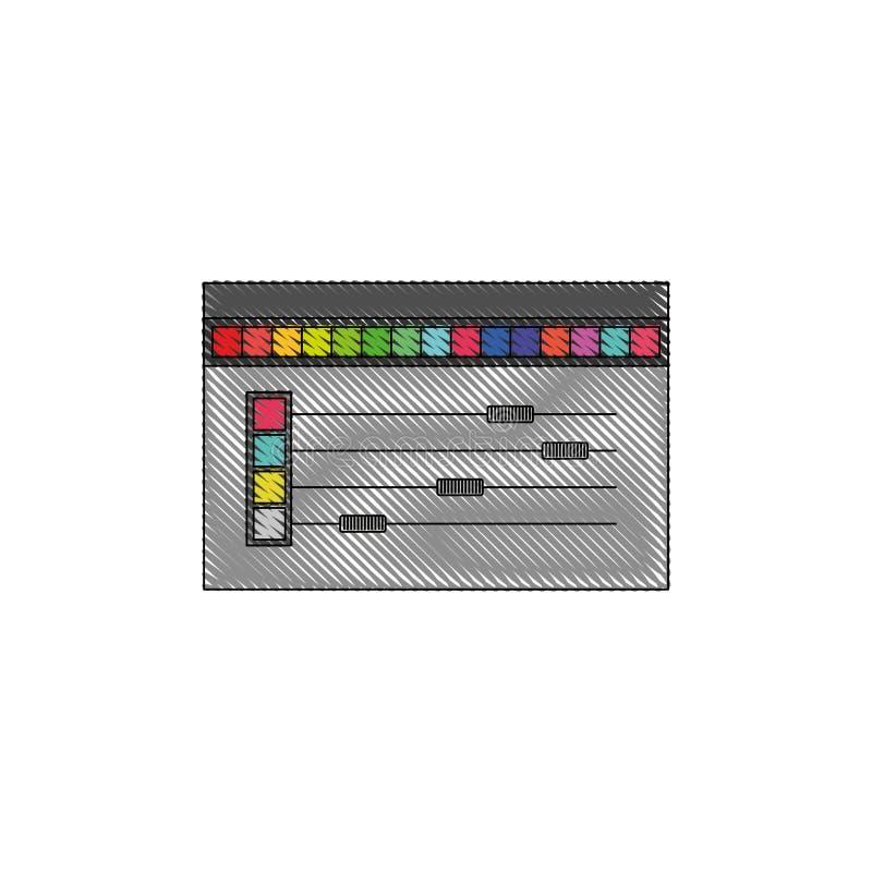 Biały tło z barwioną kredkową sylwetką kolor palety narzędzie dla projektant grafiki royalty ilustracja